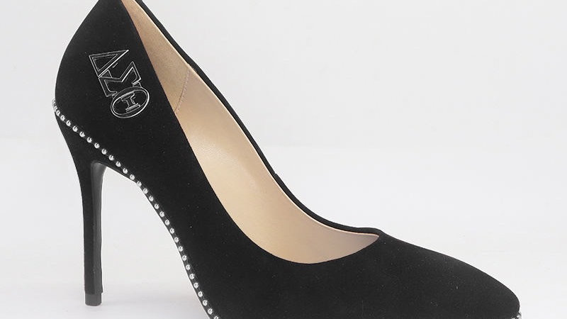 ΔΣΘ Black Genuine Suede Leather Heels with Silver Buckle