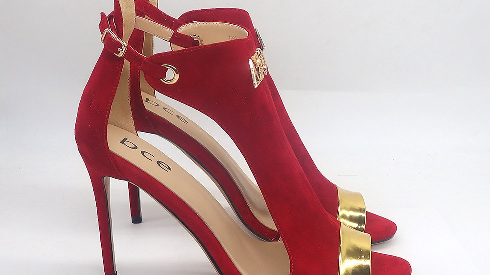 Red Suede and Gold Metallic Leather heels