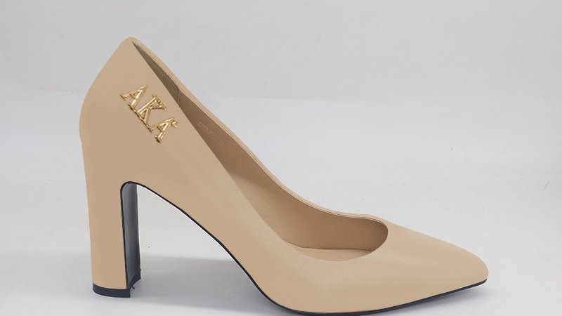 AKA Beige Genuine Leather Block 4in heels with gold buckle