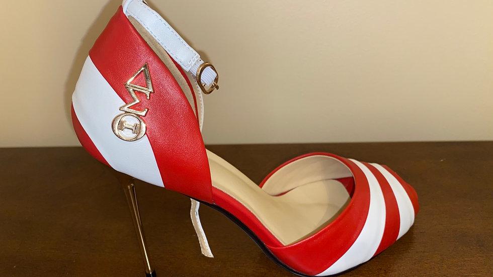 ΔΣΘ Red/White Genuine Leather 5in heels with gold buckle
