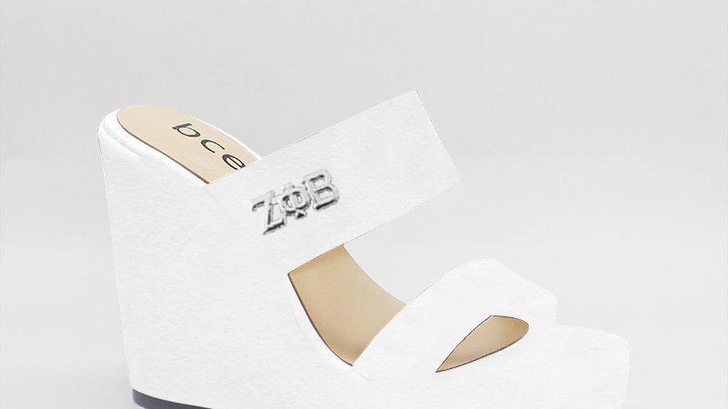 ΖΦB  White Genuine Leather Wedges with silver embedded buckle
