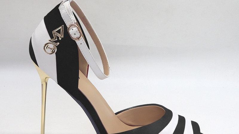 ΔΣΘ Black/White Genuine Leather 5in heels with gold buckle