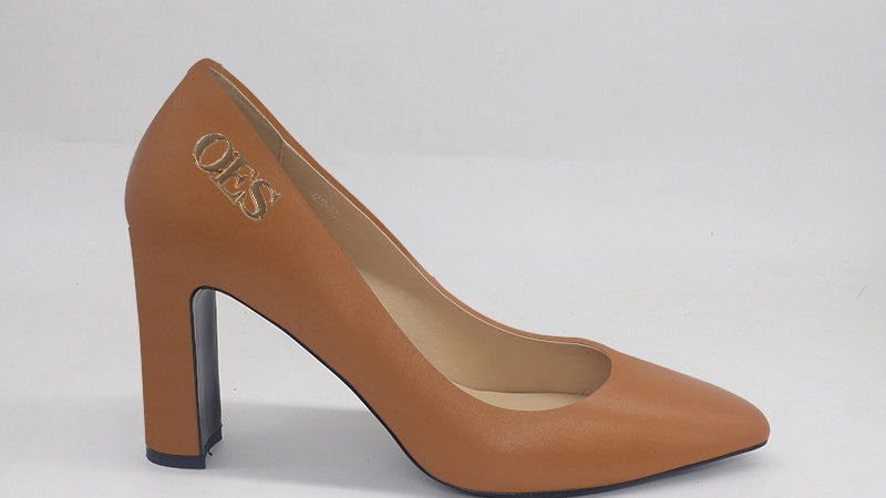 OES Cappuccino Genuine Leather block heels