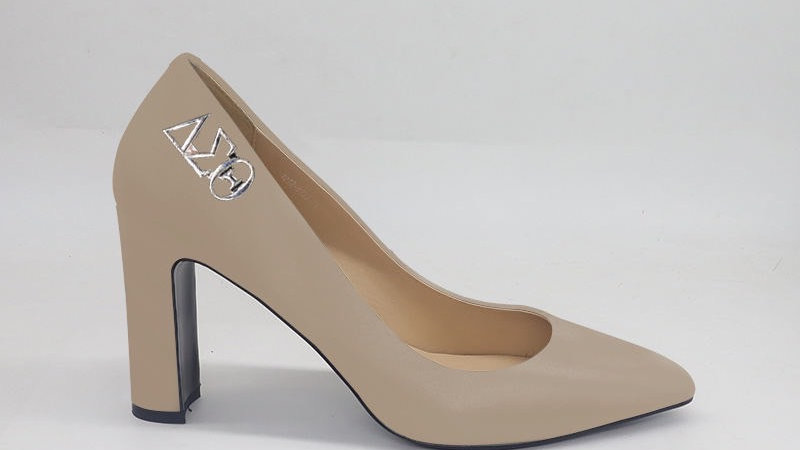 Light Beige ΔΣΘ Genuine Leather Block 4in heels with gold buckle