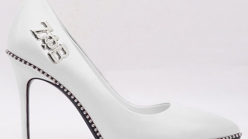 White Genuine Leather heels with silver ΖΦΒ buckle