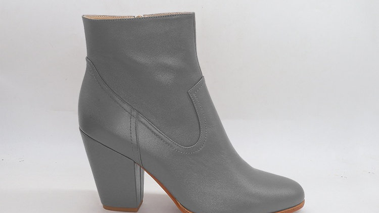 Gray Genuine Leather Boots