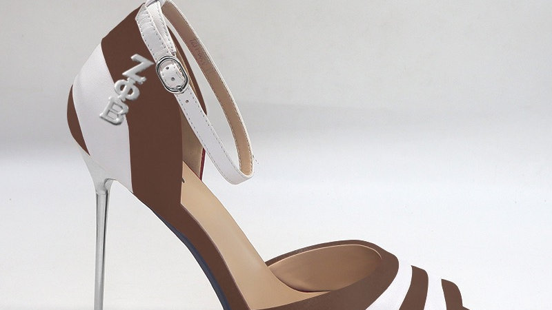 ΖΦΒ Mocha/White Genuine Leather 5in heels with silver buckle
