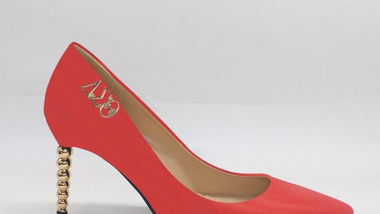 ΔΣΘ Red Genuine leather heels with gold  buckle