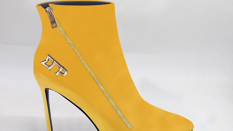 ΣΓΡ Yellow Genuine Leather 4in Boots w/ gold embedded buckle