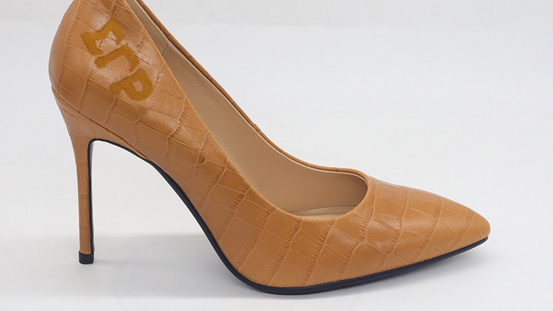 ΣΓΡ Caramel Crocodile Pattern Leather Debossed heels