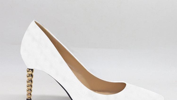 White Genuine leather heels