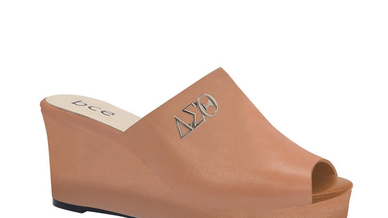 ΔΣΘ Cappuccino Genuine Leather Wedges with silver embedde buckle