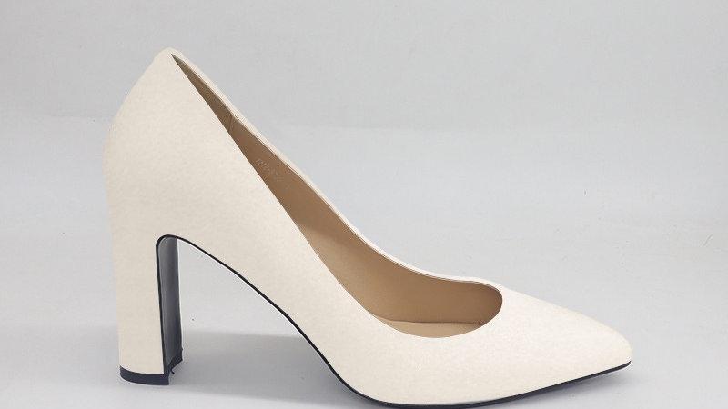 Cream Genuine Leather Block 4in heels