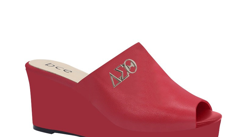 ΔΣΘ Red Genuine Leather Wedges with silver embedde buckle