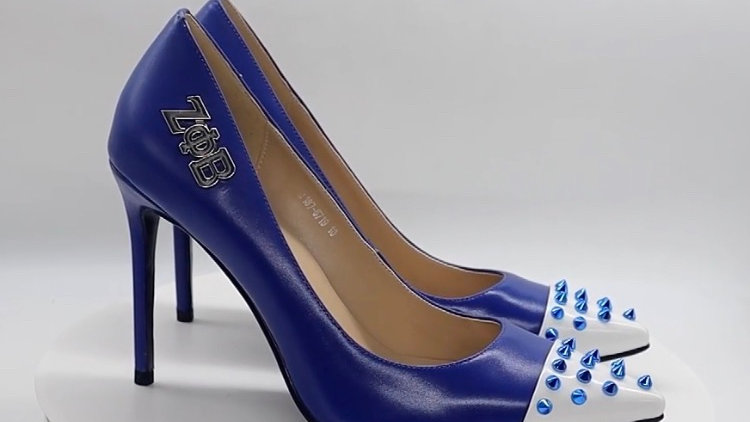 Blue/White Genuine Leather Heels with Blue Studs with silver ΖΦΒ buckle
