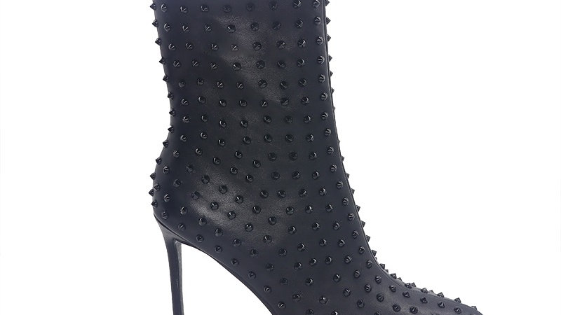 Black Genuine Leather Spiked 4in Boots
