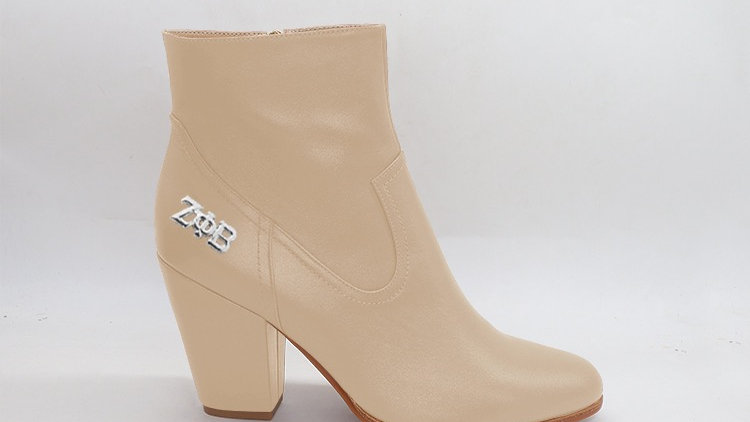 ΖΦΒ  Beige Genuine Leather Boots with silver buckle