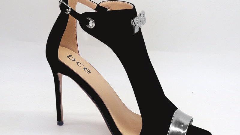 ΖΦΒ Black Genuine Suede Leather and Metallic Leather heels