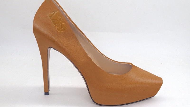 ΔΣΘ Cappuccino Genuine Leather Debossed Platform Heels