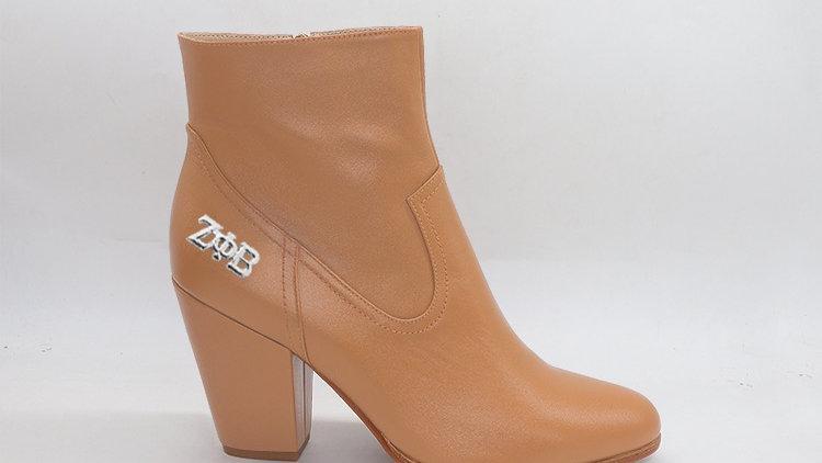 ΖΦΒ  Cappuccino Genuine Leather Boots with silver buckle