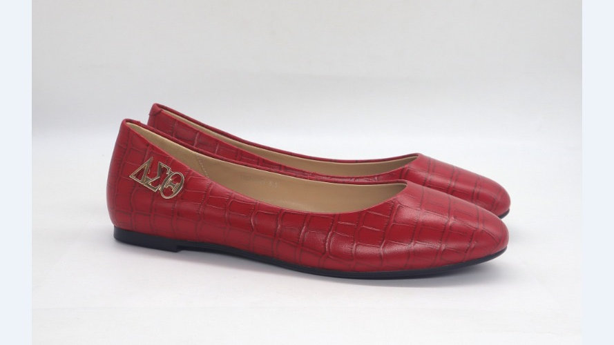 Red Croco Pattern Genuine Leather Flats with Gold ΔΣΘ buckle