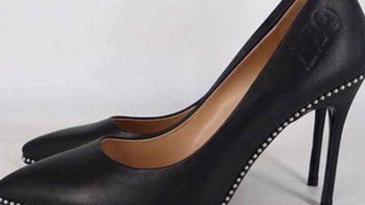 Black ΔΣΘ Genuine leather Debossed heel