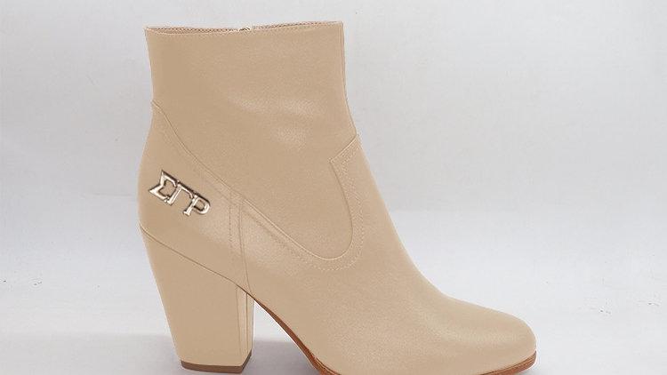 ΣΓΡ  Light Beige Genuine Leather Boots with gold buckle