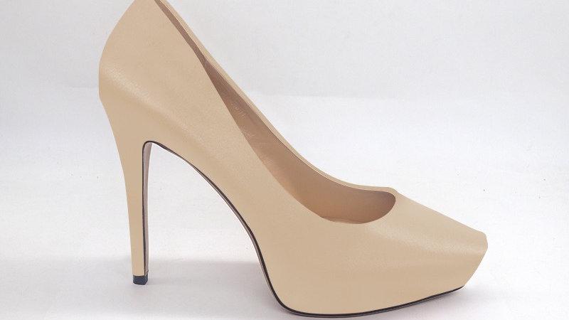Light Beige Genuine Leather Platform 4in Heels