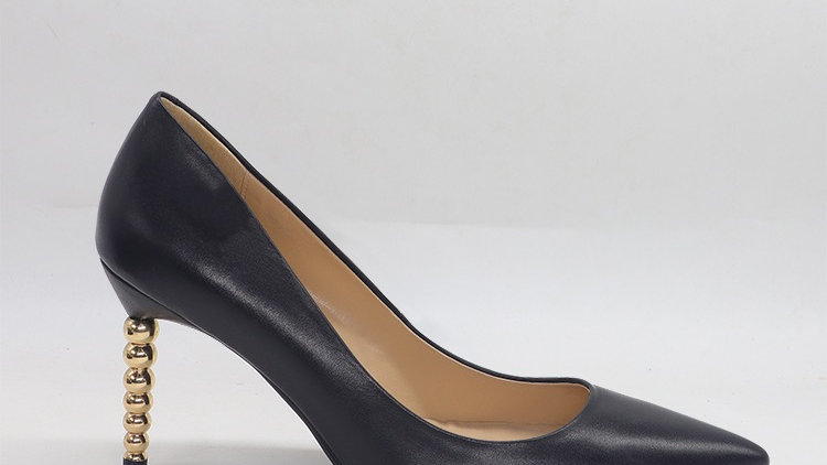 Black Genuine leather heels