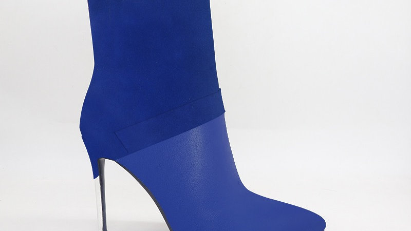 Blue Suede/Genuine Leather 4in Boots