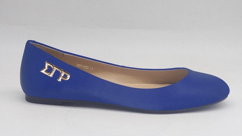 ΣΓΡ Blue Genuine Leather Flats with gold buckle