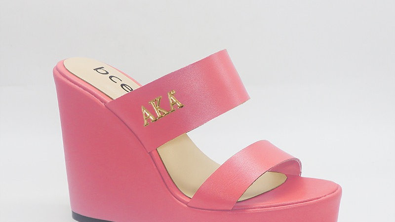 AKA Pink Genuine Leather Wedges with gold embedded buckle