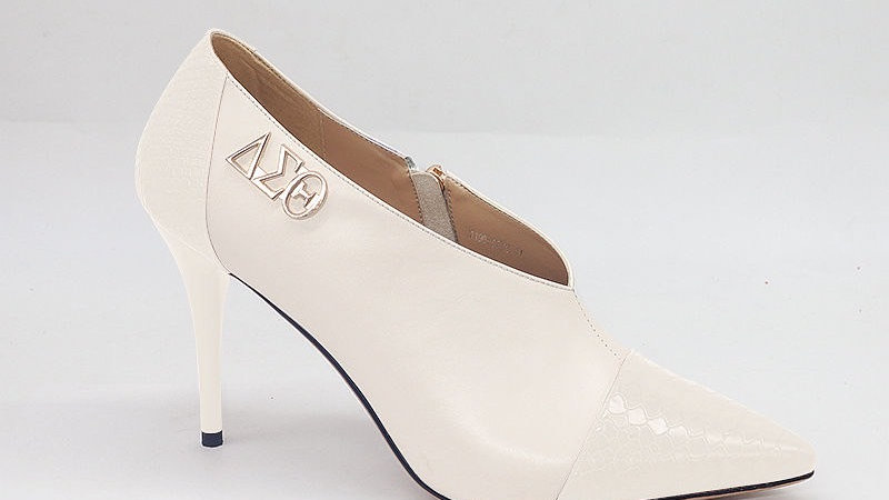 Cream Genuine Leather and Faux Snake Skin Heels