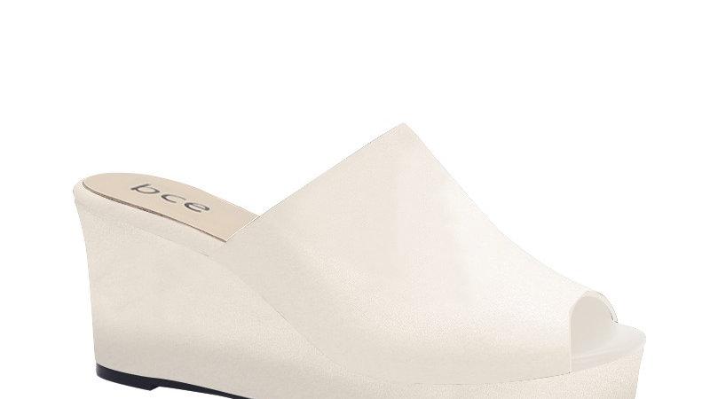 Cream Genuine Leather Wedges
