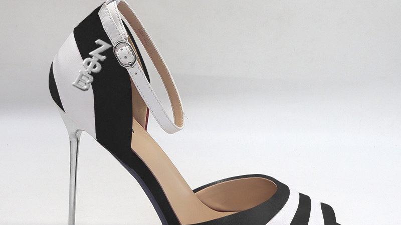 ΖΦΒ Black/White Genuine Leather 5in heels with silver buckle