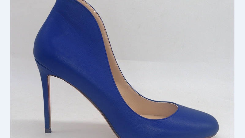 Blue Genuine Leather heels