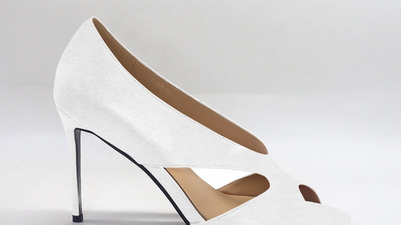 White Genuine Leather 4in heels