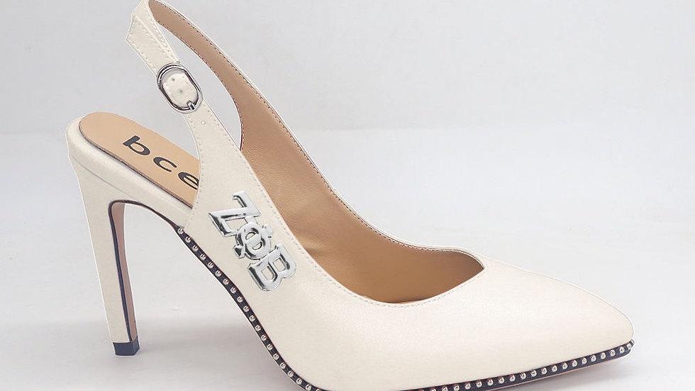 ΖΦΒ Cream Genuine Leather Slingback heels with silver buckle