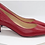 Thumbnail: Red ΔΣΘ Debossed Genuine Flat Grain Leather Heel