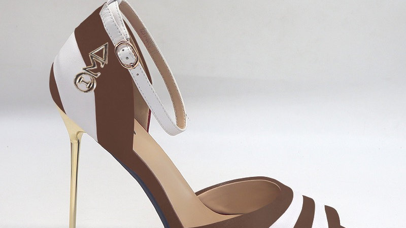 ΔΣΘ Mocha/White Genuine Leather 5in heels with gold buckle