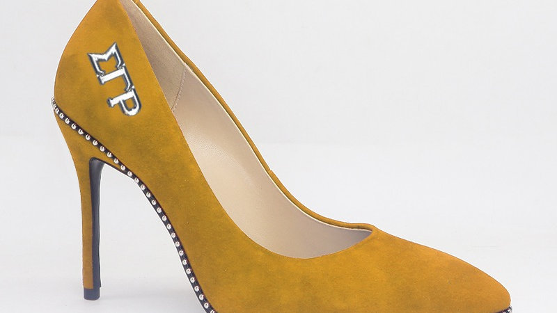 ΣΓΡ Yellow Genuine Suede Leather Heels with Silver Buckle