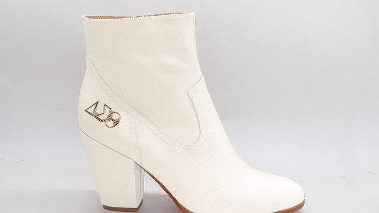 ΔΣΘ Cream Genuine Leather Boots with gold buckle