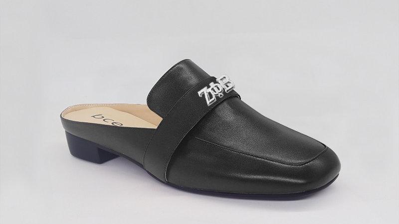 ΖΦΒ Black Genuine Leather Flats with silver embedded buckle