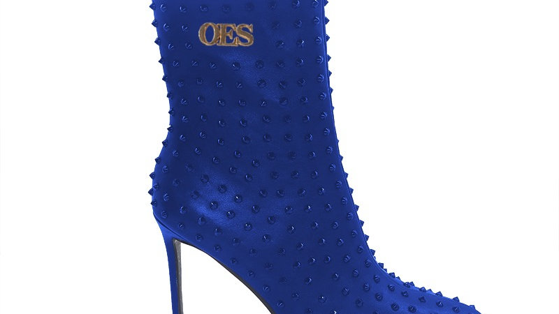 OES Blue  Genuine Leather Spiked 4in Boots w/gold embedded buckle