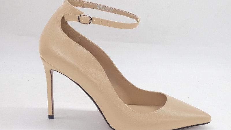Beige Genuine Leather strap 4in heels