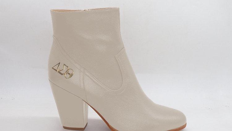 ΔΣΘ Light Gray Genuine Leather Boots with gold buckle