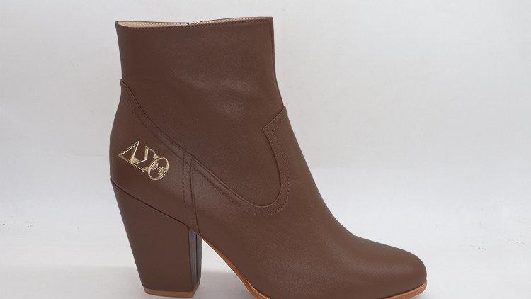 ΔΣΘ Mocha Genuine Leather Boots with gold buckle