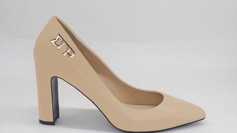 ΣΓΡ Light Beige Genuine Leather Block 4in heels  with gold buckle