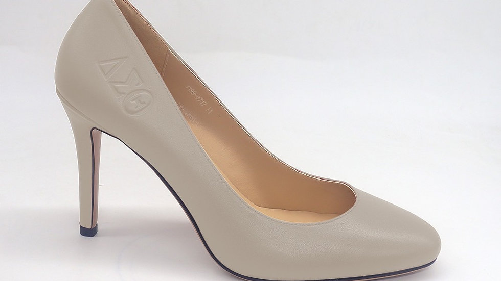 Light Gray Round Toe ΔΣΘ Genuine Leather Debossed heels