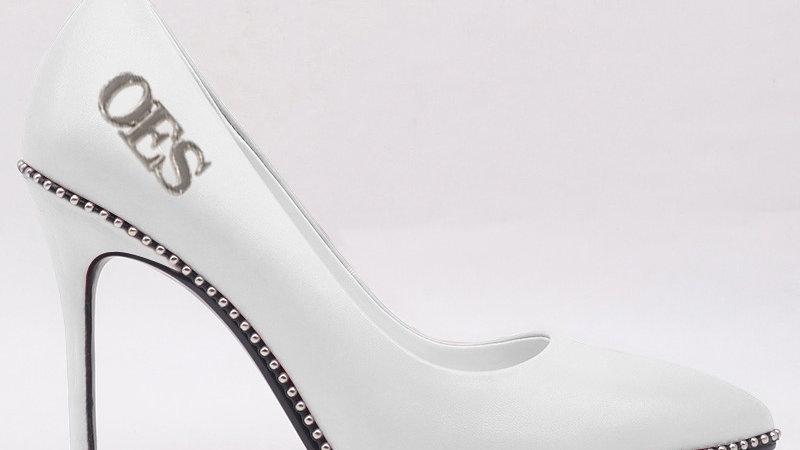 OES White Genuine Leather Heels